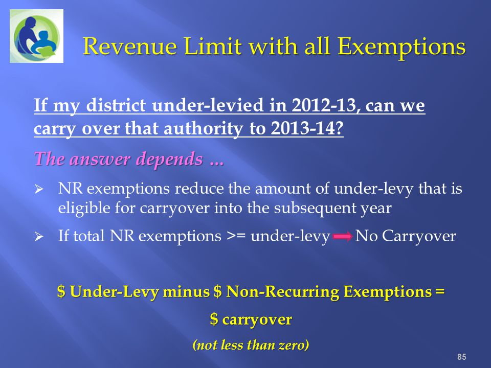 $ Under-Levy minus $ Non-Recurring Exemptions =