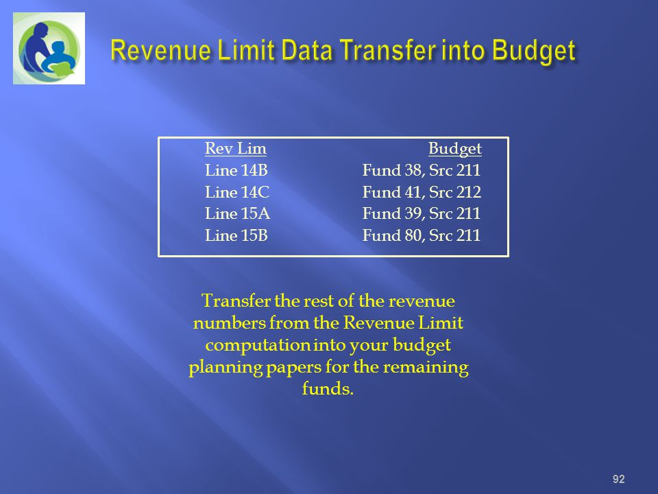 Revenue Limit Data Transfer into Budget