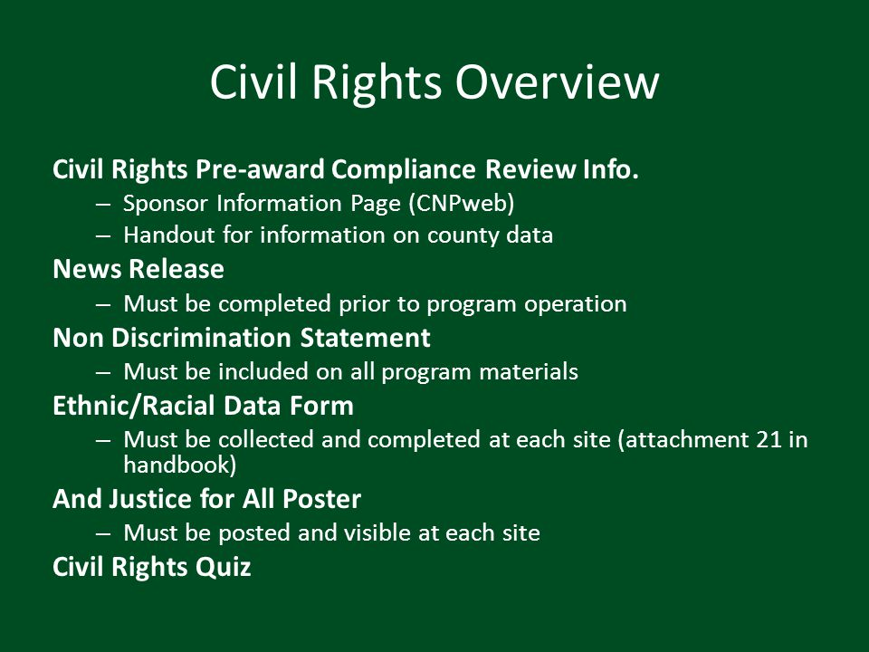 Civil Rights Overview Civil Rights Pre-award Compliance Review Info.
