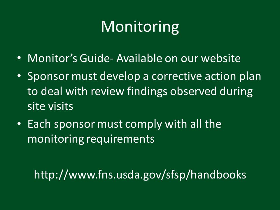 Monitoring Monitor's Guide- Available on our website