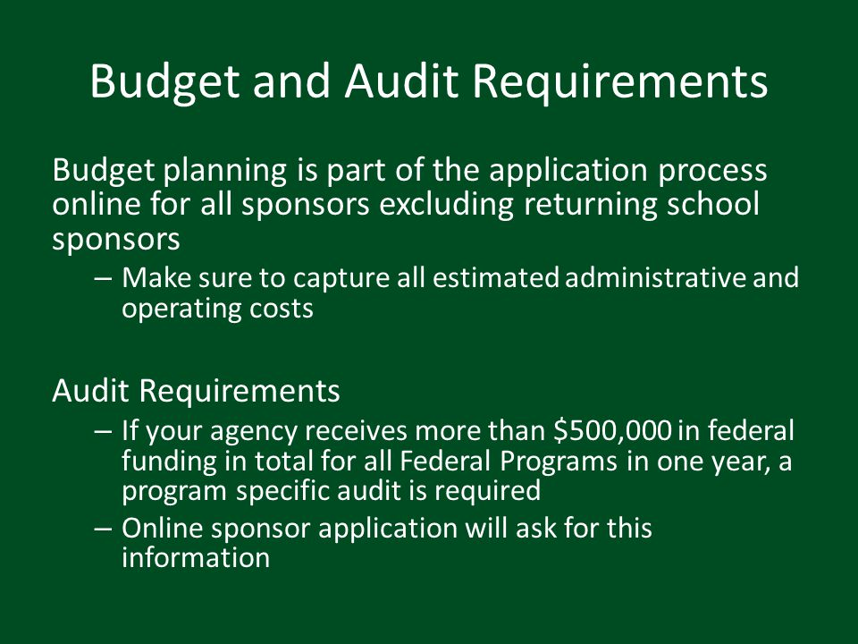 Budget and Audit Requirements