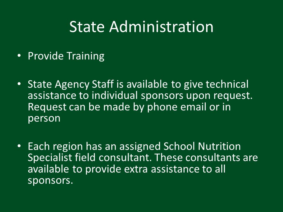 State Administration Provide Training