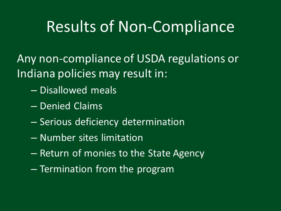 Results of Non-Compliance