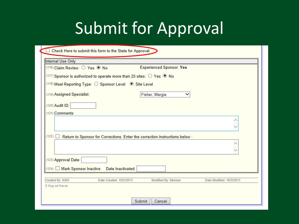 Submit for Approval
