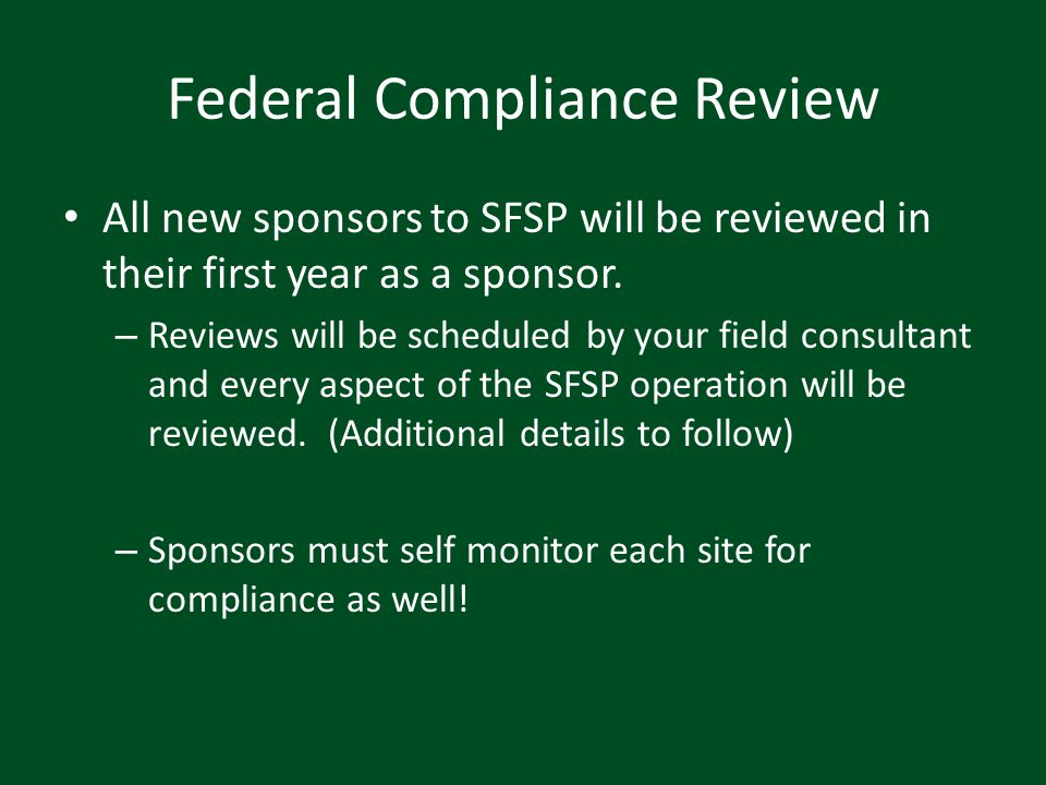 Federal Compliance Review