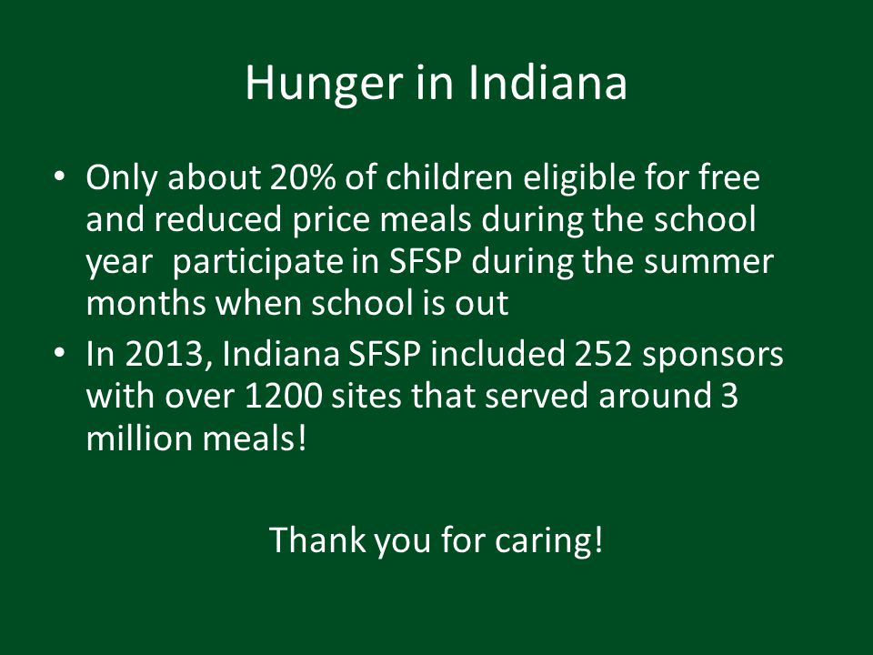 Hunger in Indiana