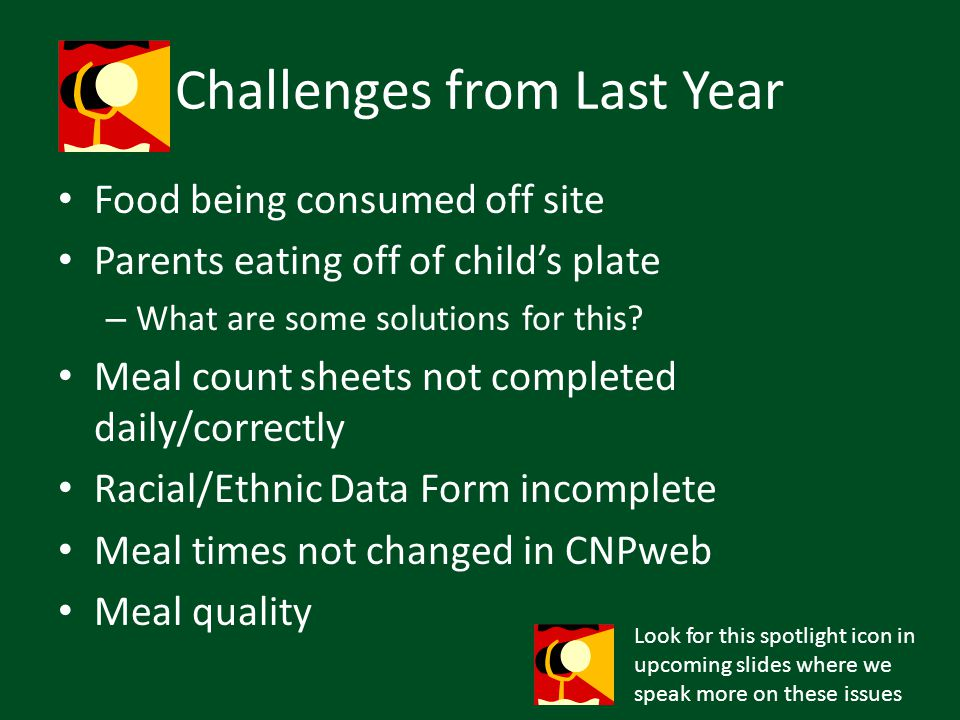 Challenges from Last Year