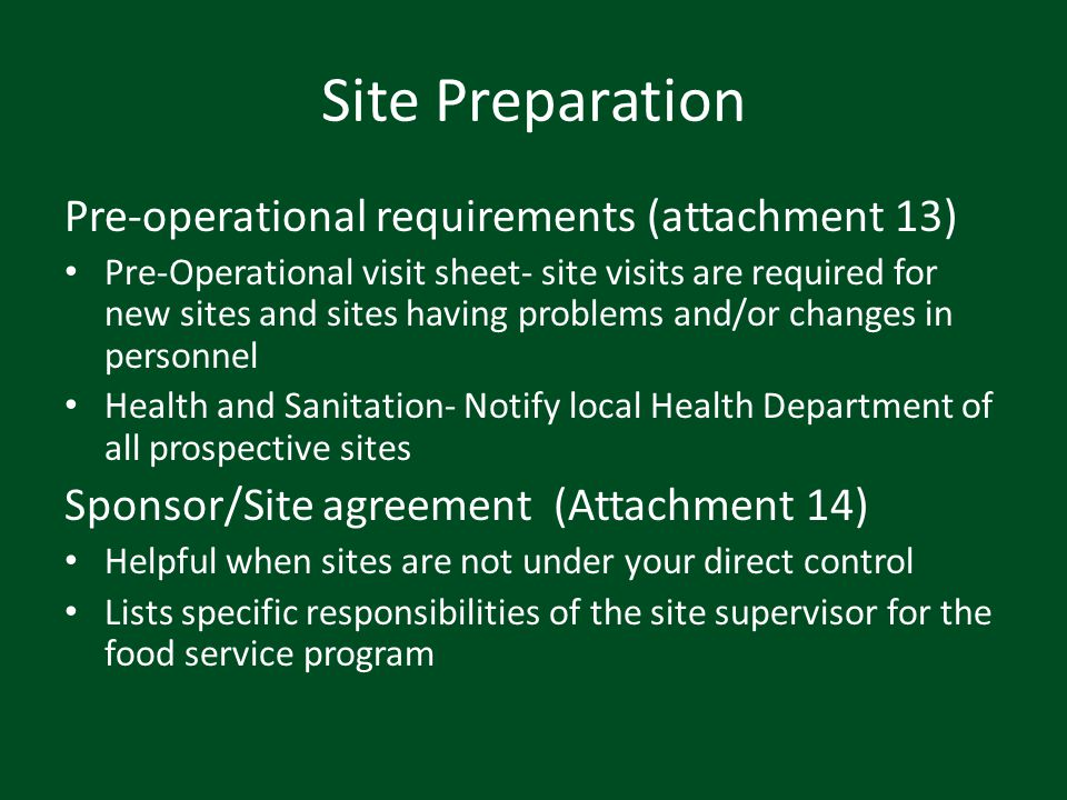 Site Preparation Pre-operational requirements (attachment 13)