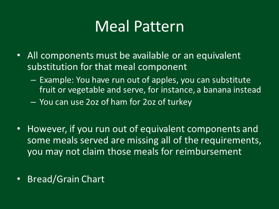Meal Pattern All components must be available or an equivalent substitution for that meal component.