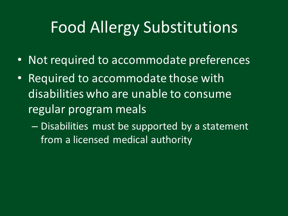 Food Allergy Substitutions