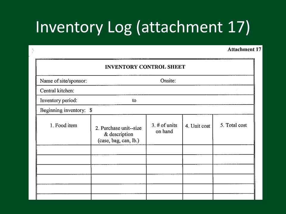 Inventory Log (attachment 17)