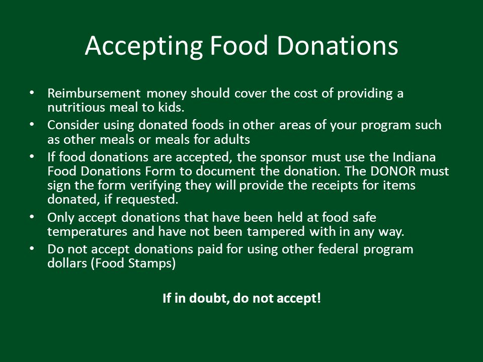 Accepting Food Donations