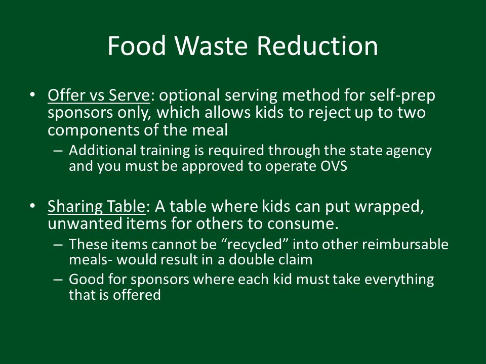 Food Waste Reduction