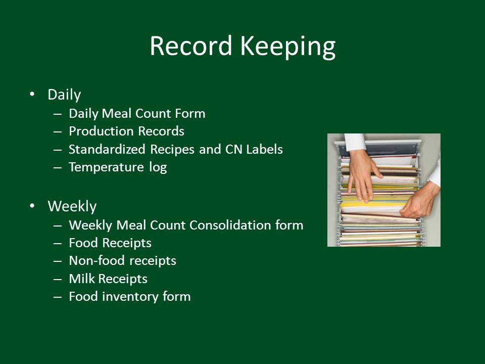 Record Keeping Daily Weekly Daily Meal Count Form Production Records