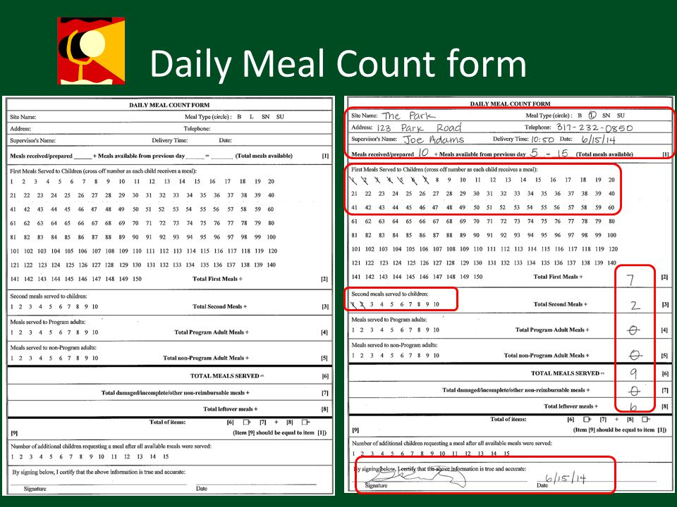 Daily Meal Count form Hand out meal count form exercise (to follow)