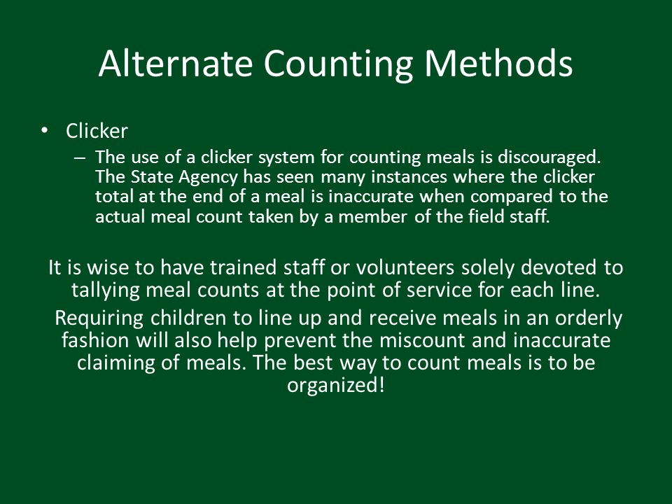 Alternate Counting Methods