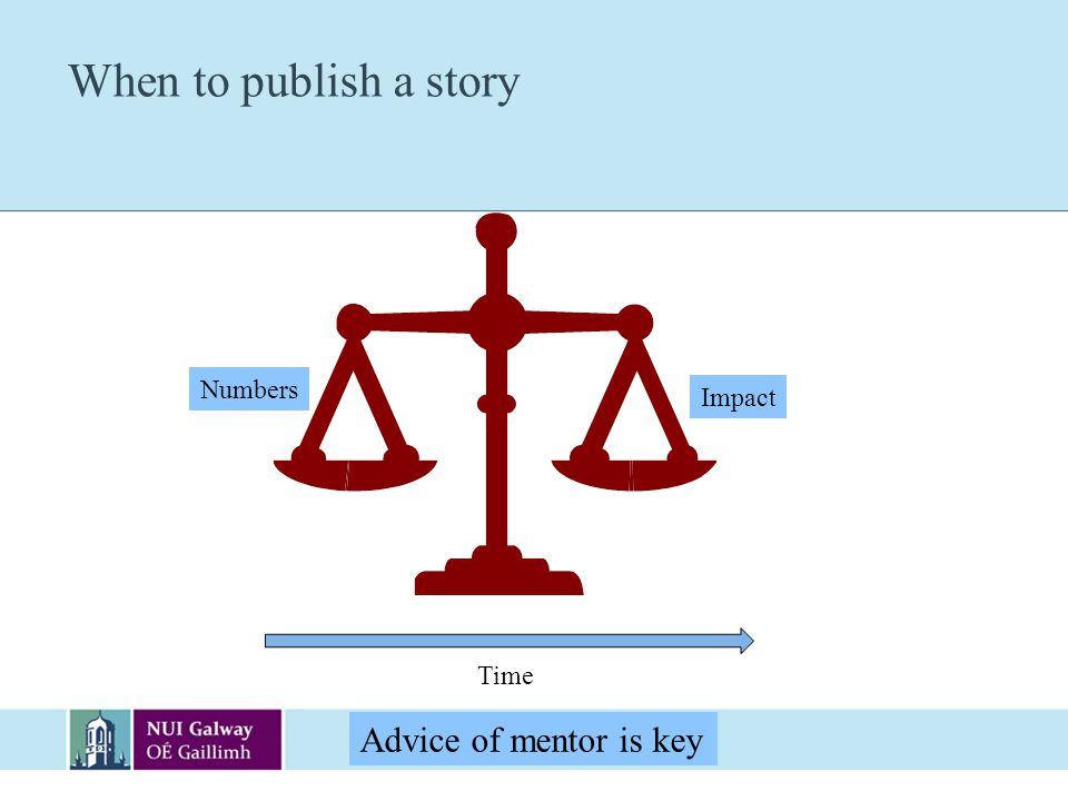 When to publish a story Numbers Impact Time Advice of mentor is key