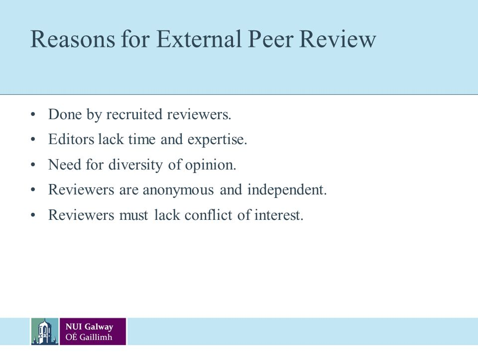 Reasons for External Peer Review