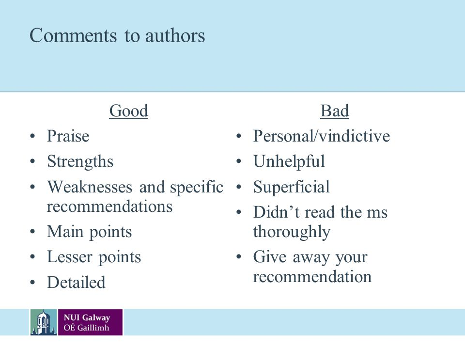 Comments to authors Good Praise Strengths