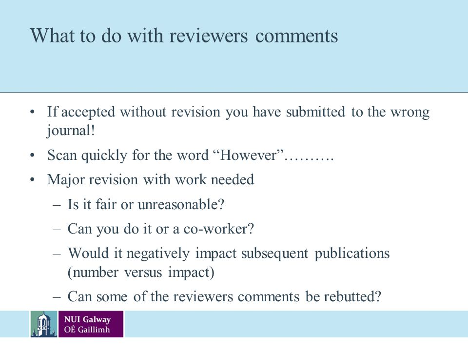 What to do with reviewers comments