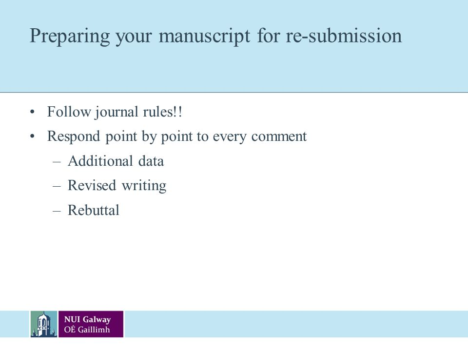 Preparing your manuscript for re-submission