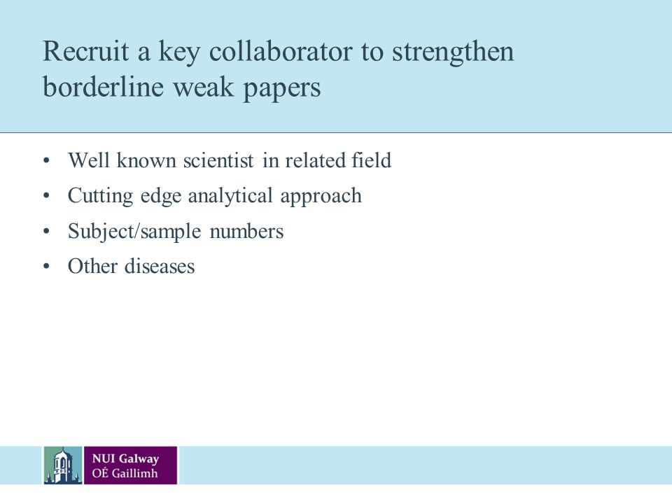 Recruit a key collaborator to strengthen borderline weak papers