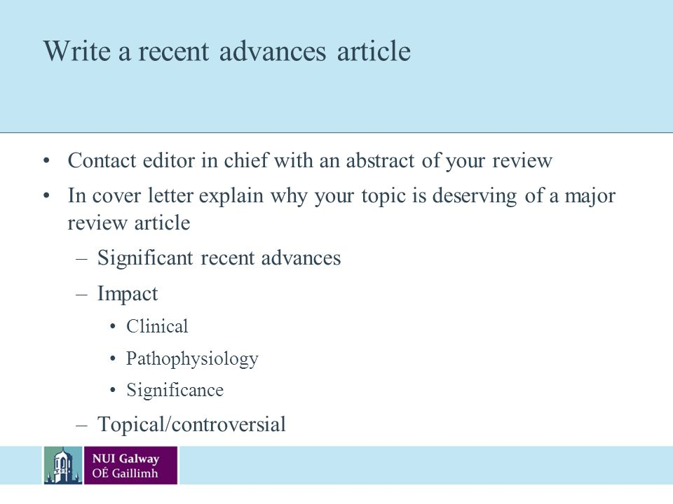 Write a recent advances article