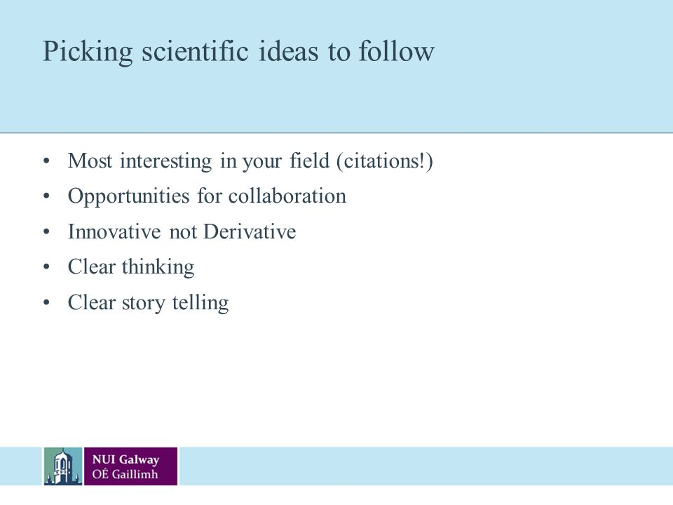 Picking scientific ideas to follow
