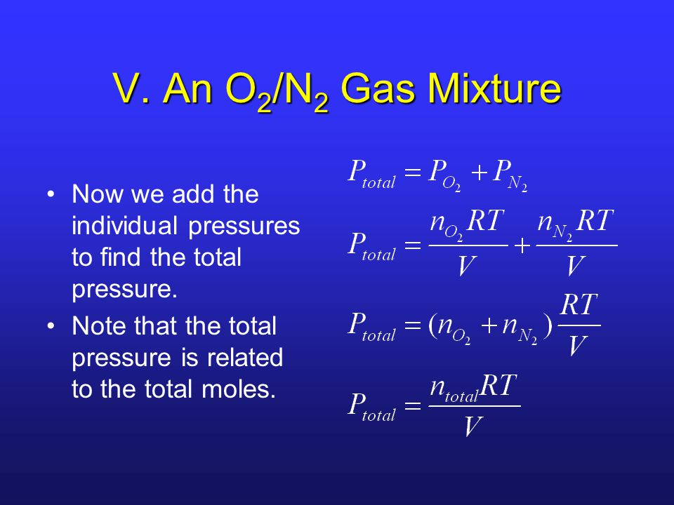V. An O2/N2 Gas Mixture Now we add the individual pressures to find the total pressure.