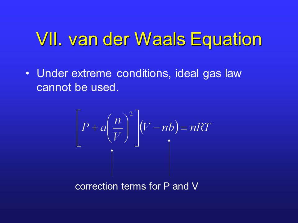 VII. van der Waals Equation