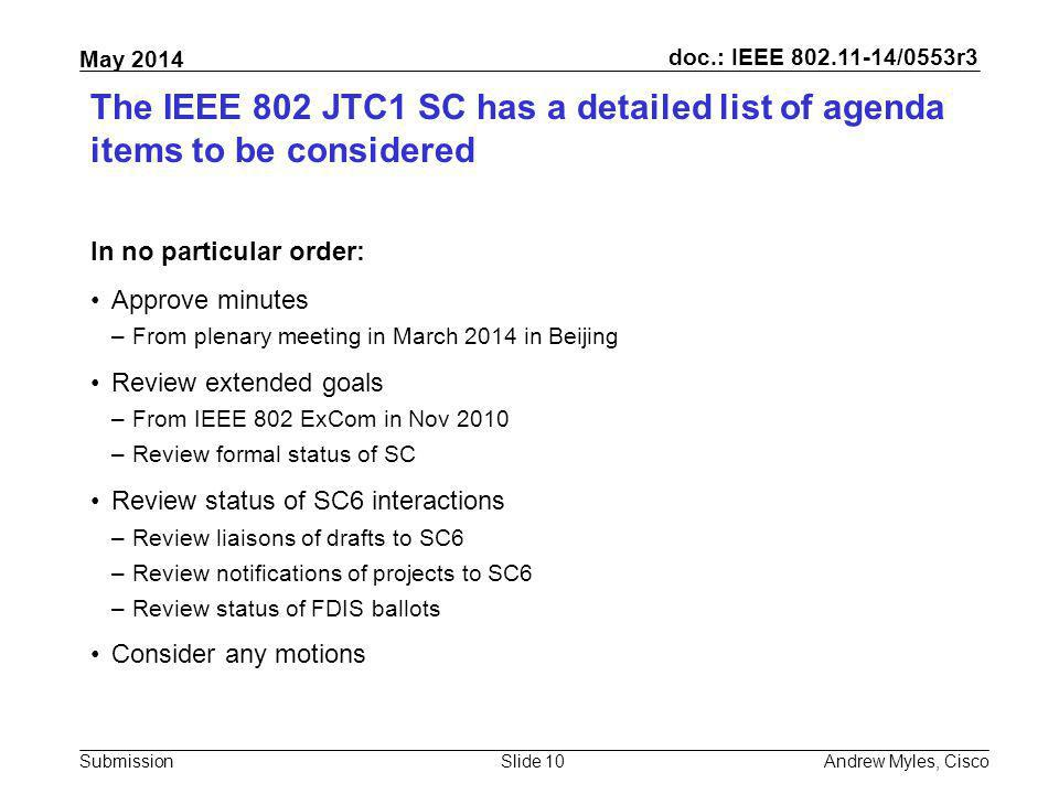 July 2010 doc.: IEEE 802.11-10/0xxxr0. The IEEE 802 JTC1 SC has a detailed list of agenda items to be considered.
