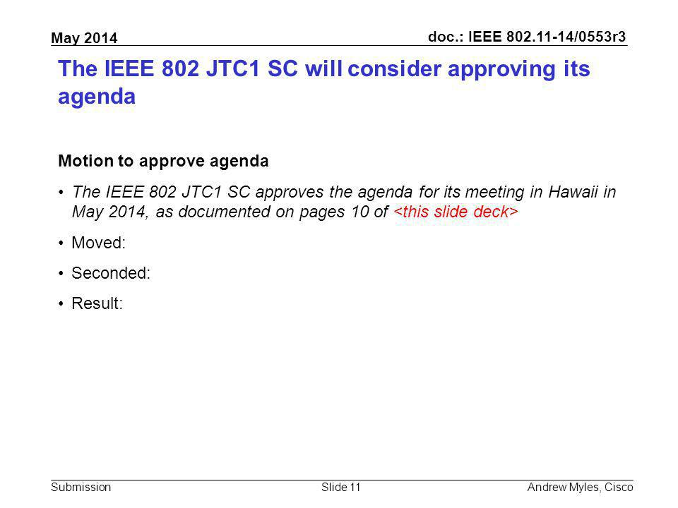 The IEEE 802 JTC1 SC will consider approving its agenda