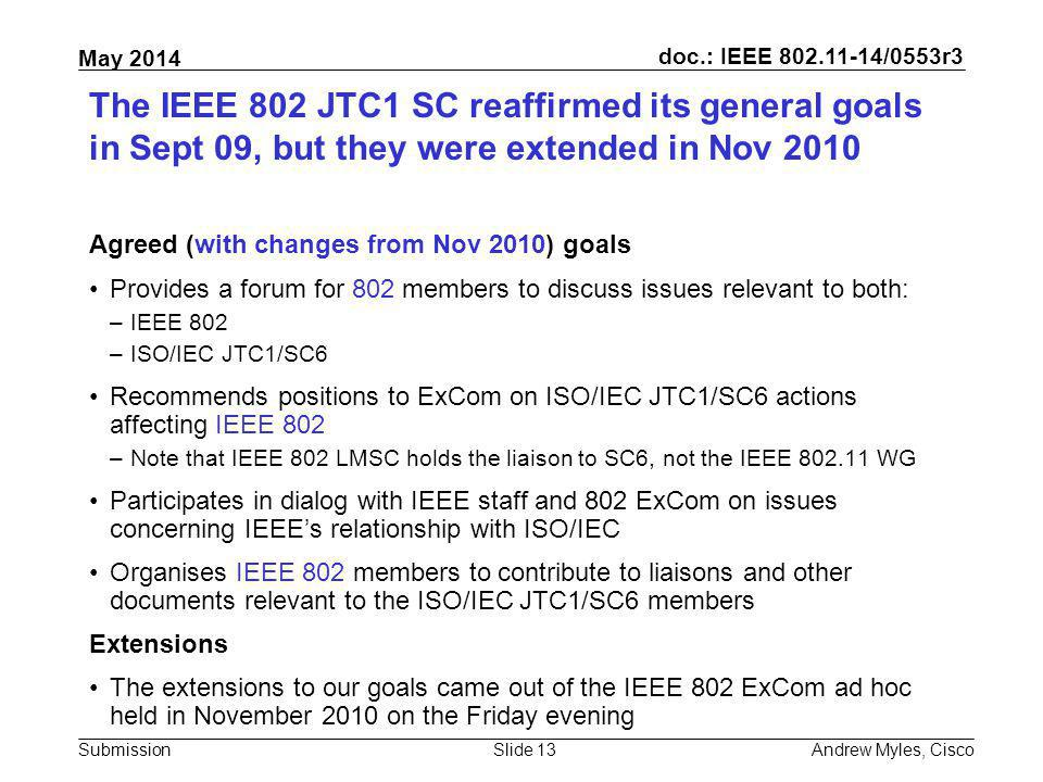 July 2010 doc.: IEEE 802.11-10/0xxxr0. The IEEE 802 JTC1 SC reaffirmed its general goals in Sept 09, but they were extended in Nov 2010.