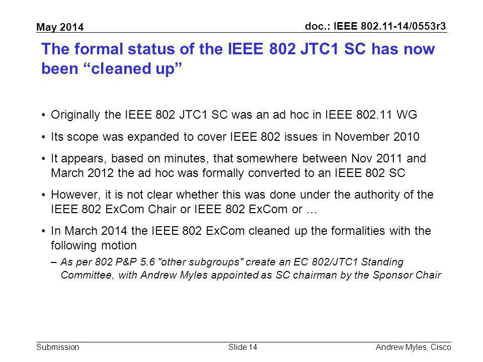 The formal status of the IEEE 802 JTC1 SC has now been cleaned up