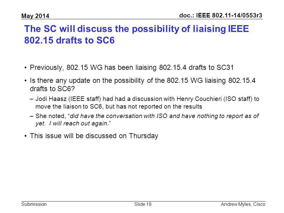 The SC will discuss the possibility of liaising IEEE 802