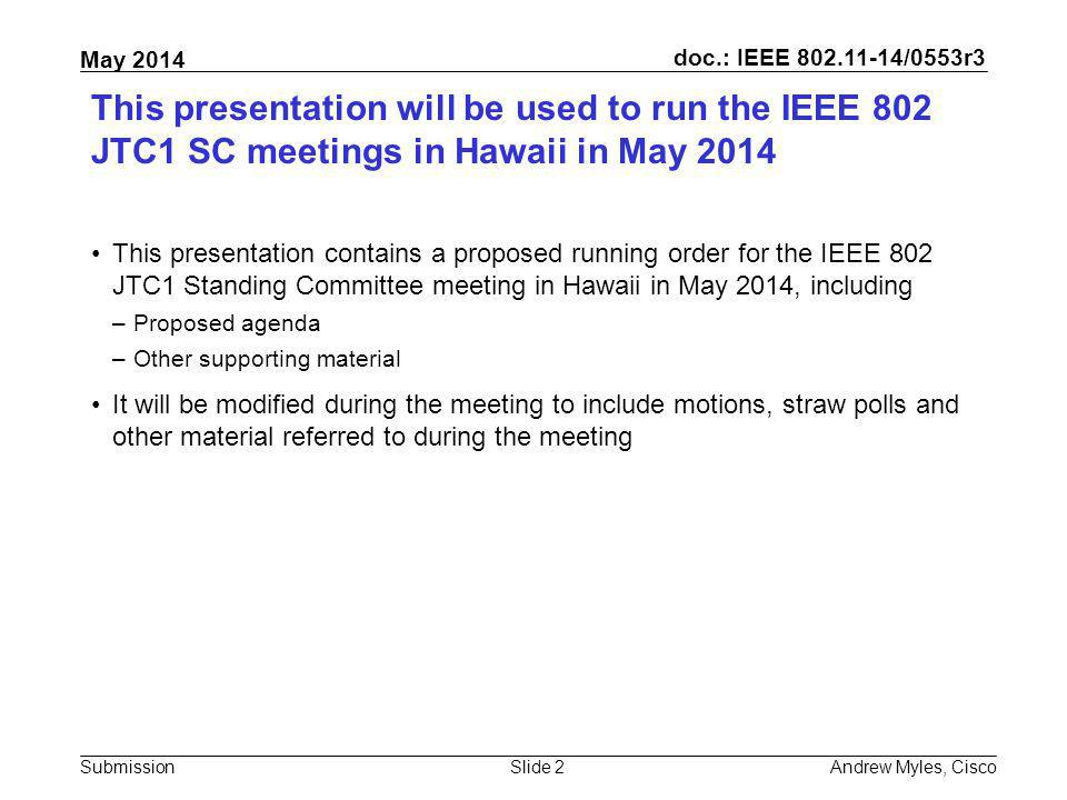 July 2010 doc.: IEEE 802.11-10/0xxxr0. This presentation will be used to run the IEEE 802 JTC1 SC meetings in Hawaii in May 2014.