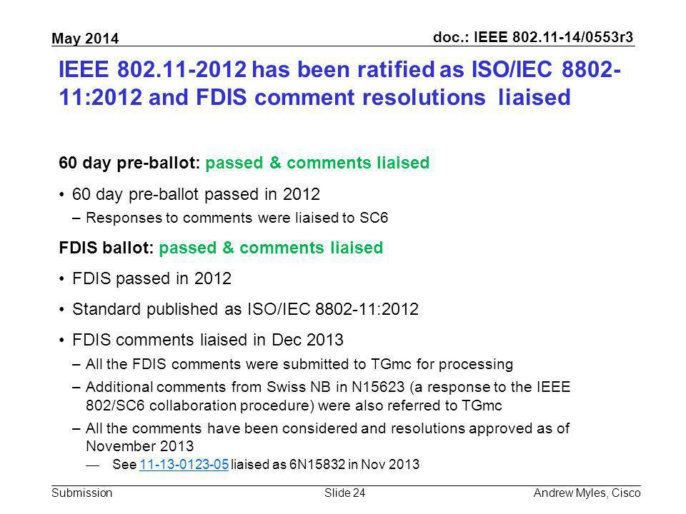 IEEE 802.11-2012 has been ratified as ISO/IEC 8802-11:2012 and FDIS comment resolutions liaised