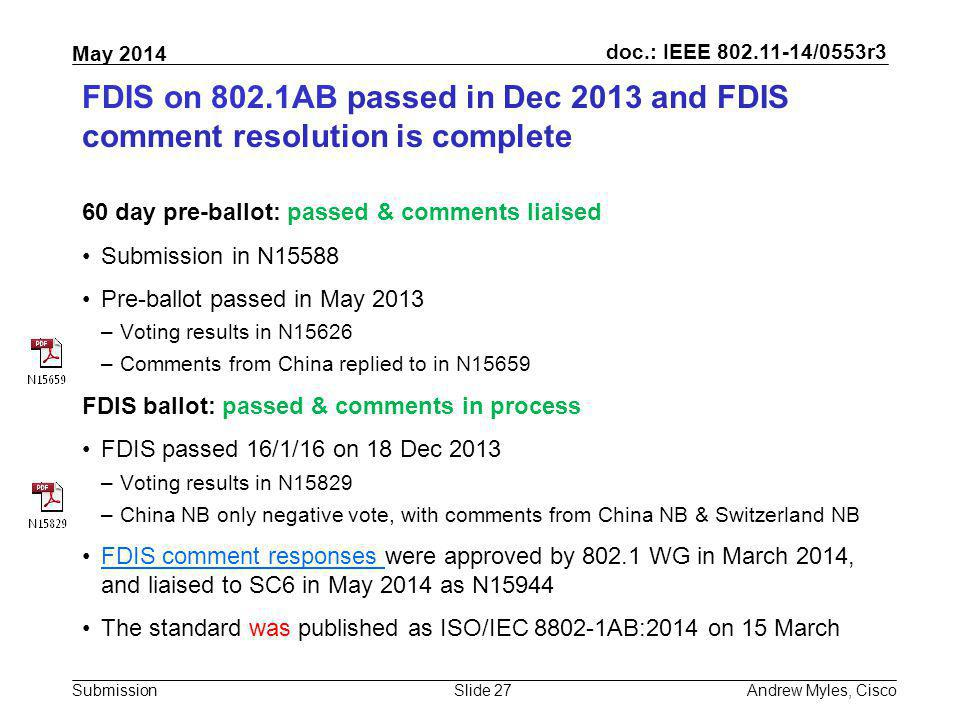 FDIS on 802.1AB passed in Dec 2013 and FDIS comment resolution is complete