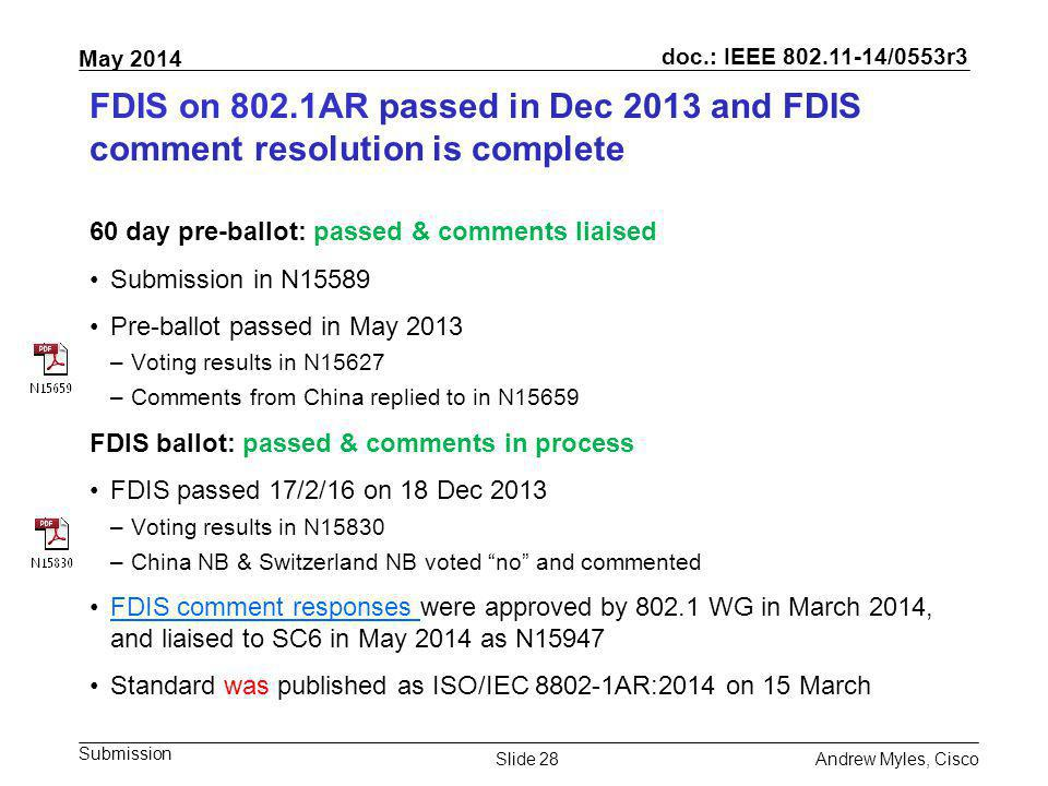 FDIS on 802.1AR passed in Dec 2013 and FDIS comment resolution is complete