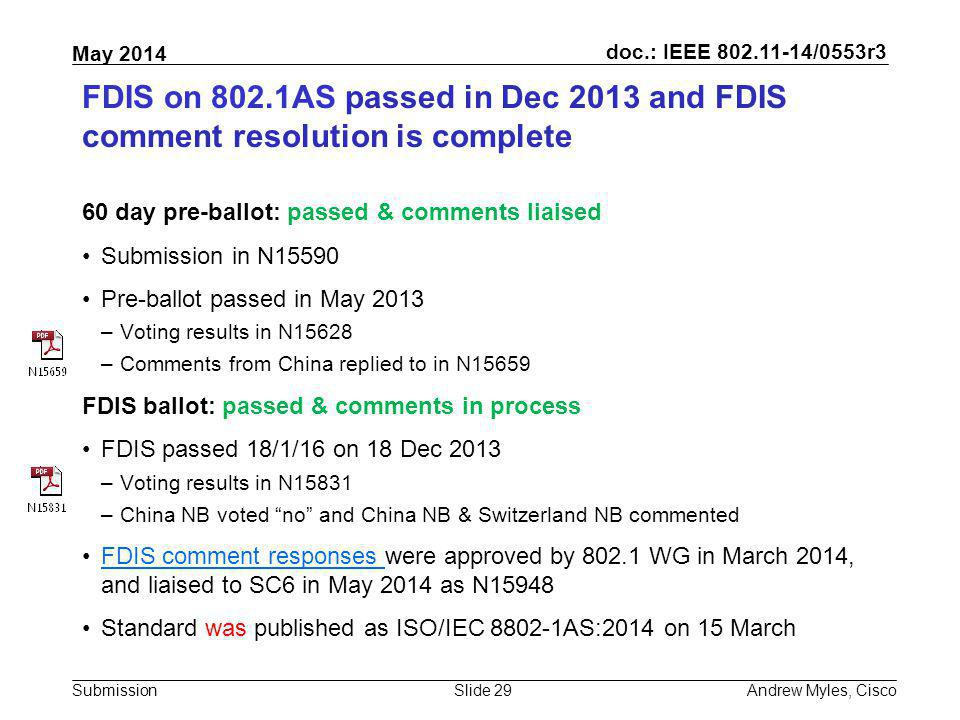 FDIS on 802.1AS passed in Dec 2013 and FDIS comment resolution is complete