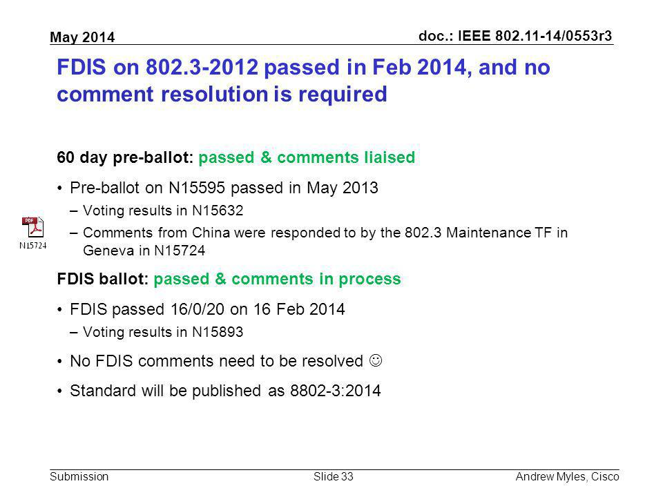 FDIS on 802.3-2012 passed in Feb 2014, and no comment resolution is required