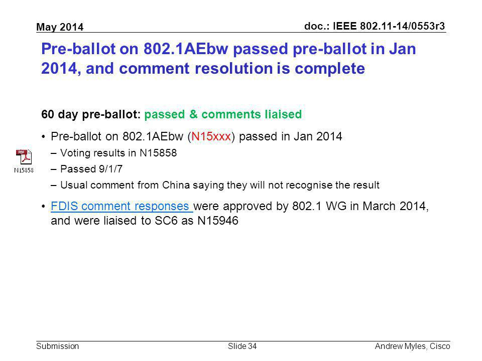 Pre-ballot on 802.1AEbw passed pre-ballot in Jan 2014, and comment resolution is complete