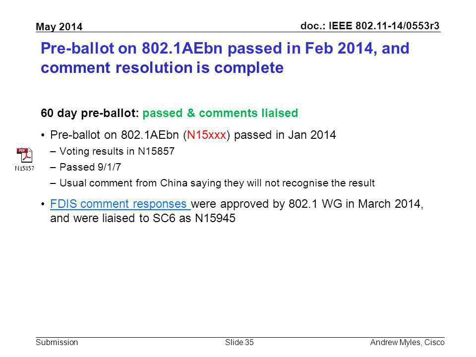 Pre-ballot on 802.1AEbn passed in Feb 2014, and comment resolution is complete