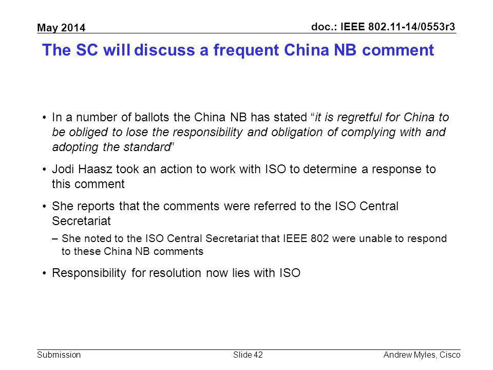 The SC will discuss a frequent China NB comment