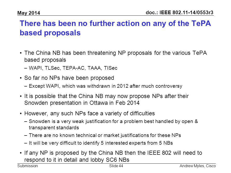 There has been no further action on any of the TePA based proposals
