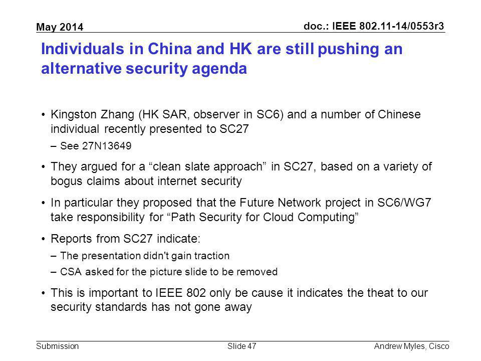 Individuals in China and HK are still pushing an alternative security agenda