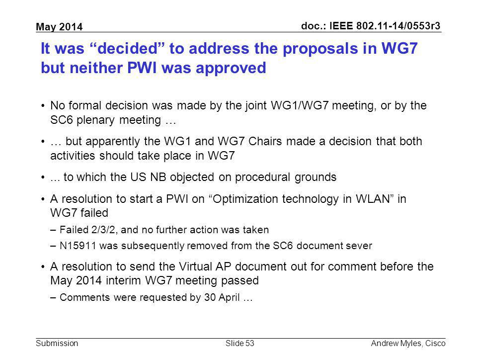 It was decided to address the proposals in WG7 but neither PWI was approved