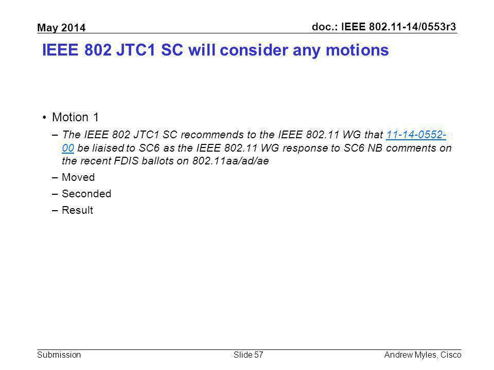 IEEE 802 JTC1 SC will consider any motions