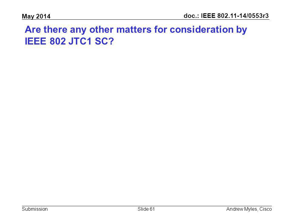 Are there any other matters for consideration by IEEE 802 JTC1 SC