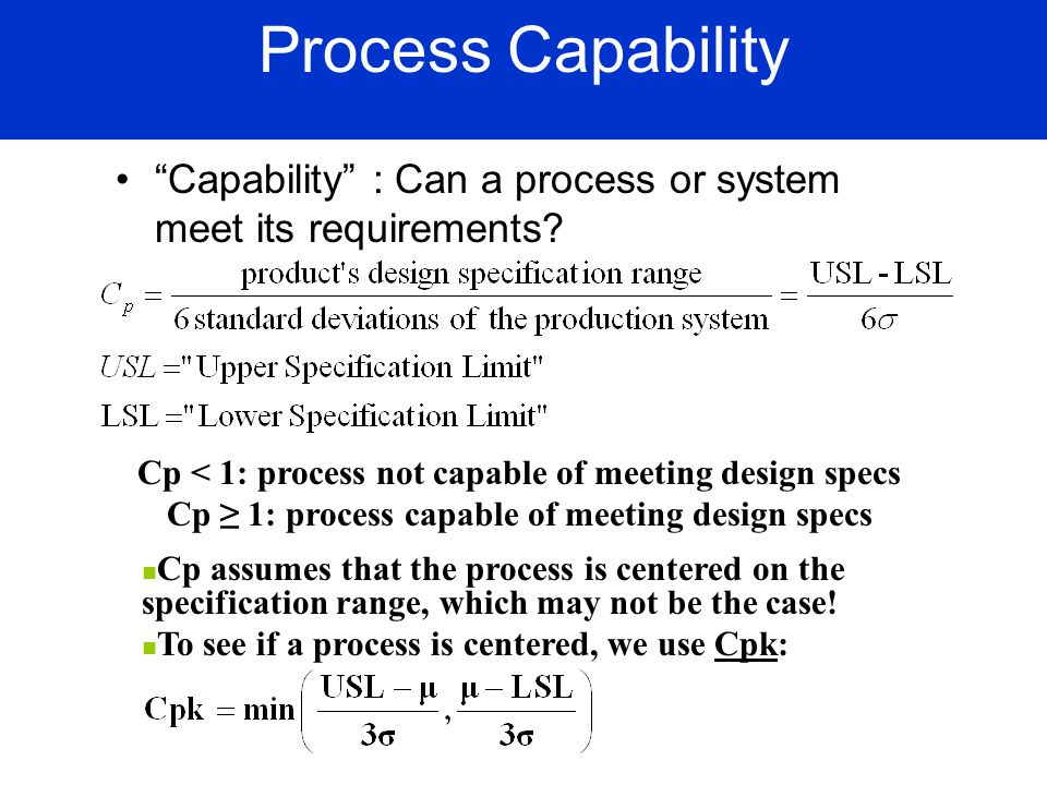 Process Capability Capability : Can a process or system meet its requirements Cp < 1: process not capable of meeting design specs.